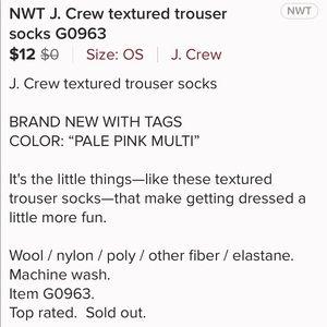 J. Crew Accessories - J. Crew Textured Trouser Socks G0963 Pale Pink NWT